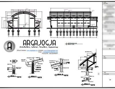 Contoh Gambar Kerja Desain Gedung Olah Raga Struktur Baja