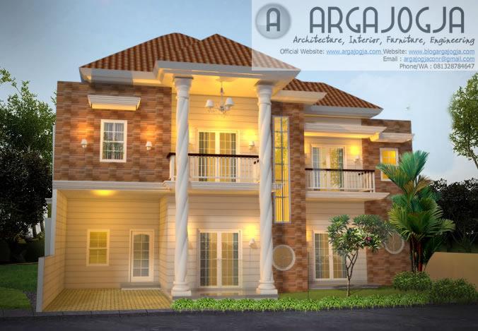 Desain Eksterior Fasad Rumah 2 lantai Klasik Modern Lahan Melebar