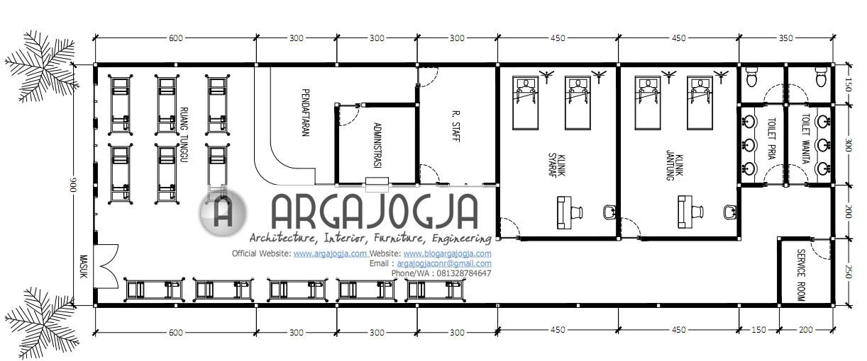 Ukuran Denah layout Klinik