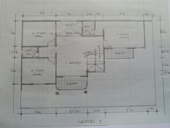 Sket Lantai 2 Rumah Klasik Modern