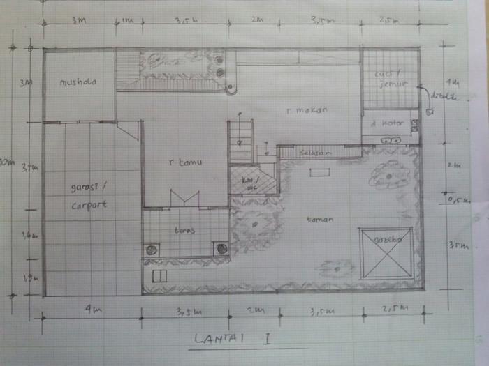 Sket Lantai 1 Rumah Klasik Modern