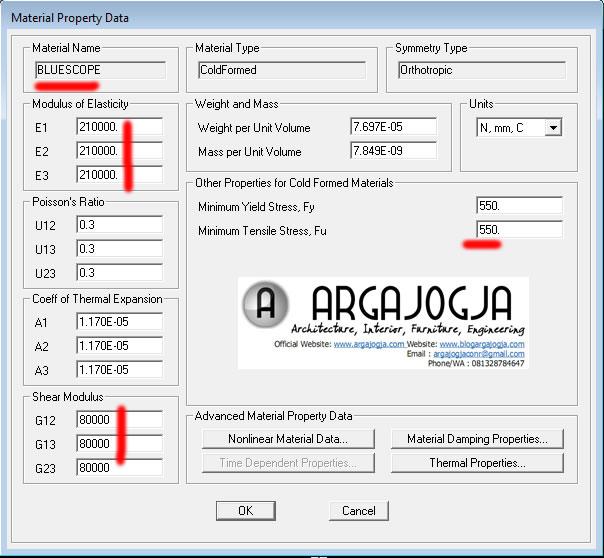 input property material baja ringan bluescope