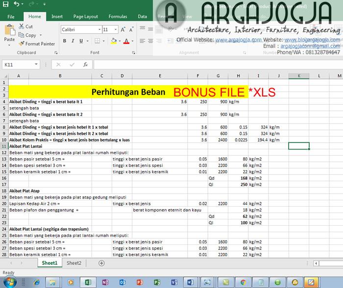 bonus file excel perhitungan beban