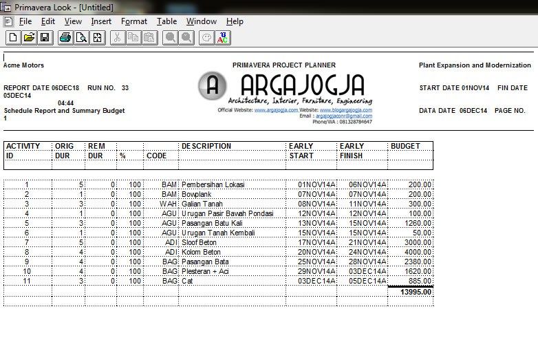 cetak summary biaya total
