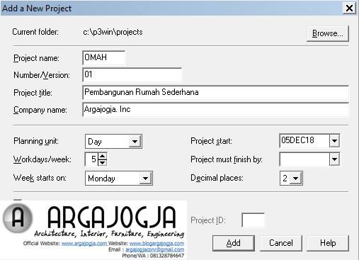 Memasukan Data Proyek