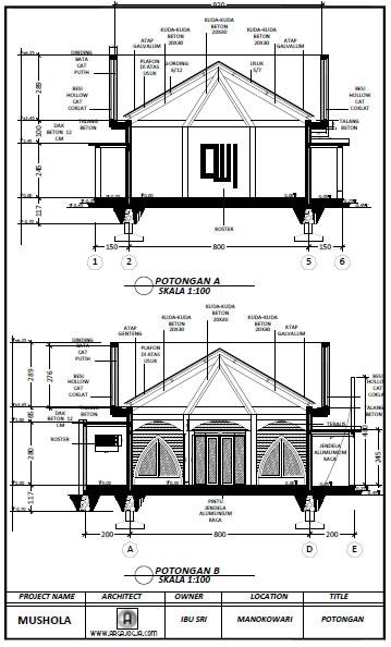 Desain Potongan Mushola Minimalis