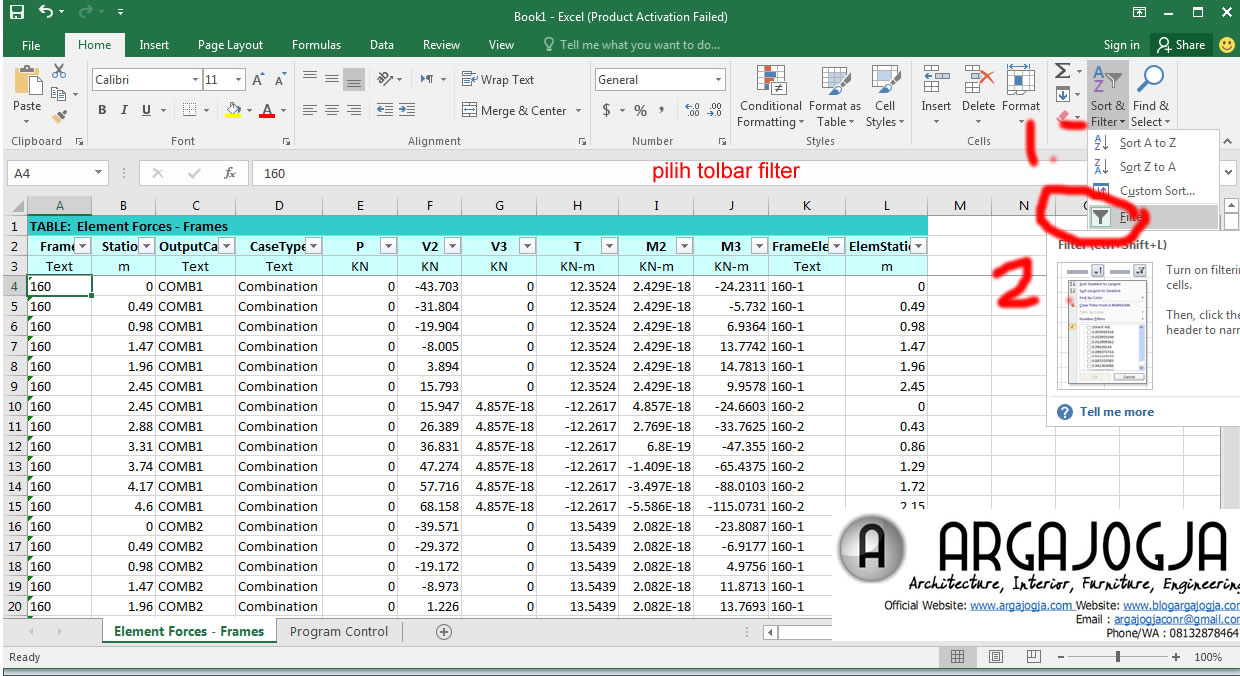 toolbar filter pada excel