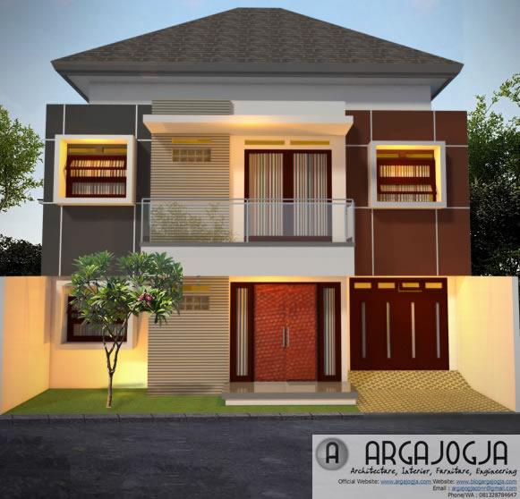 Desain Fasad Modern Minimalis 2 Lantai Lebar 12 m