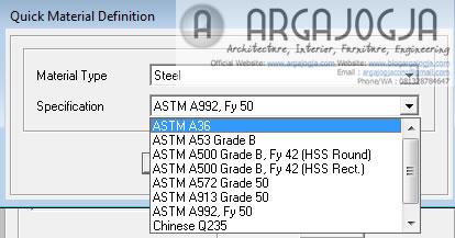 material astm pada SAP2000