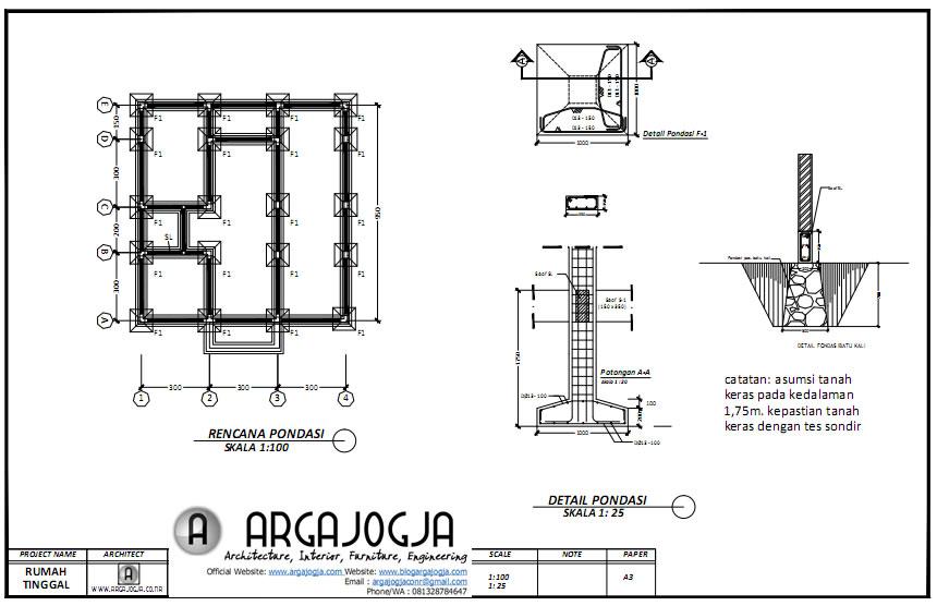 rencana pondasi desain rumah ruang usaha