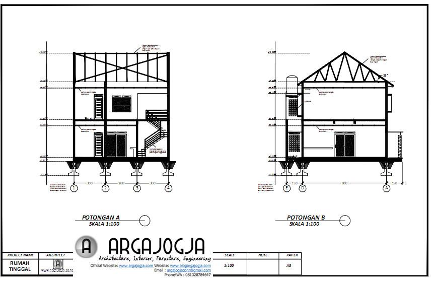 potongan desain rumah ruang usaha