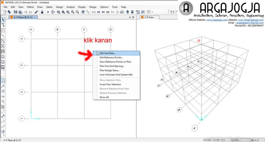 klik kanan pada layar pilih edit grid