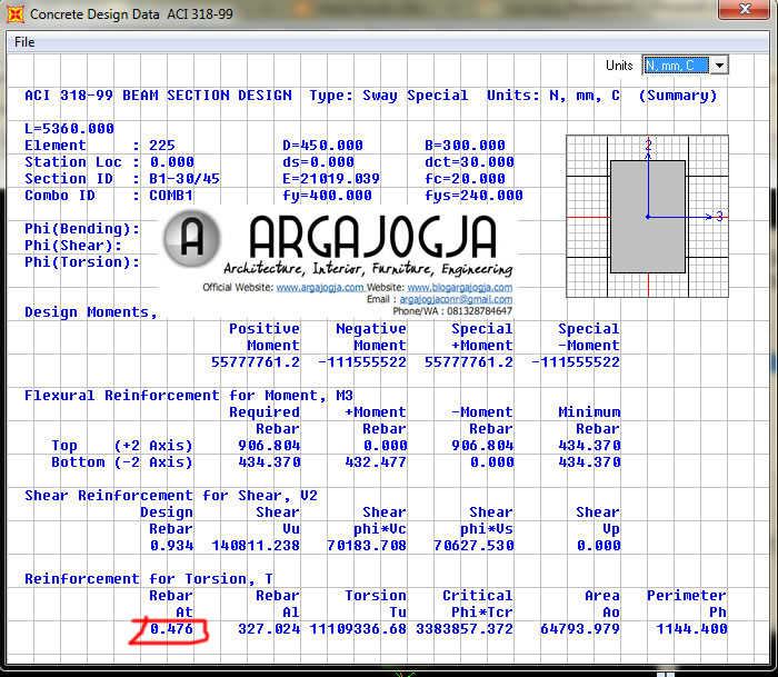 detail ouput desain dari SAP2000
