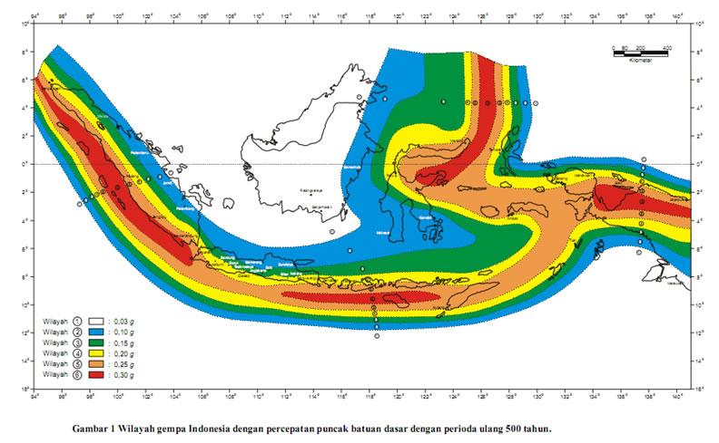 pembagian wilayah gempa indonesia