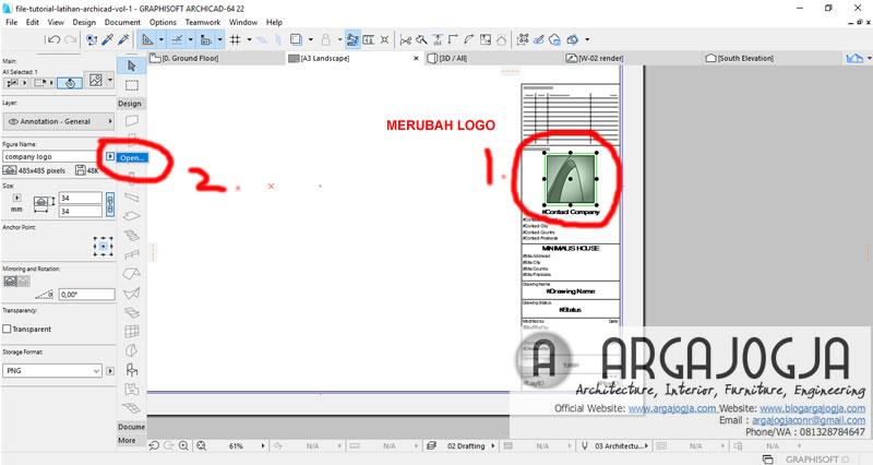 cara merubah logo layout archicad
