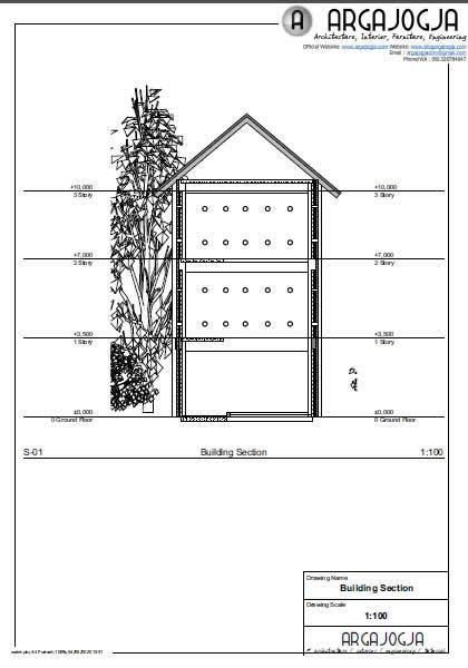 archicad gambar kerja potongan gedung walet