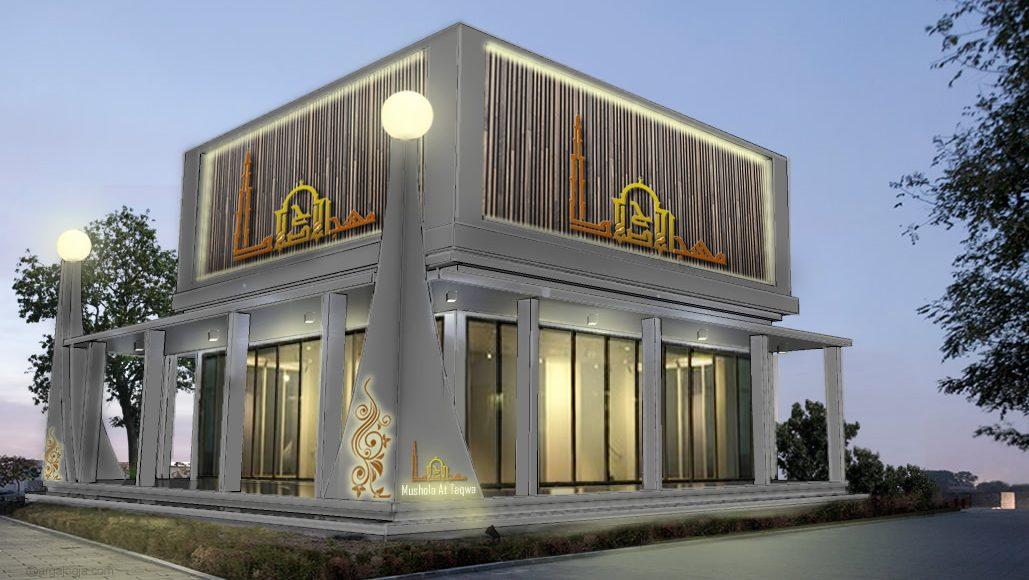 Desain Fasad Mushola Kecil Modern Minimalis 8×8