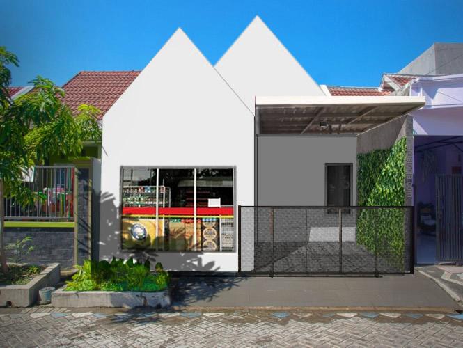 Desain Fasad Putih Simpel Rumah Kecil dengan Minimarket