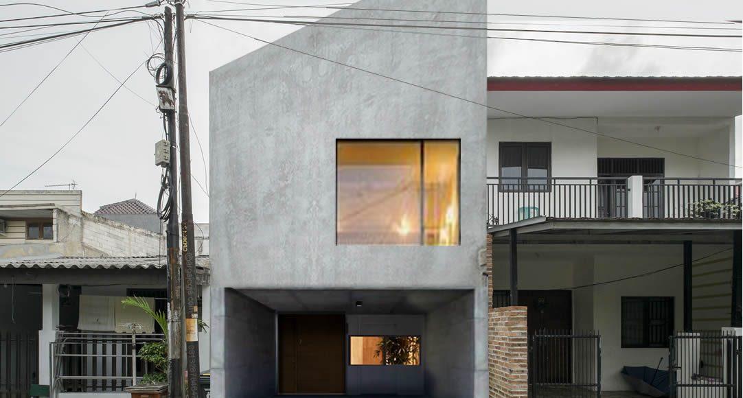 Desain Fasad Rumah Beton Segitiga Sederhana
