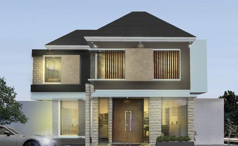 Desain Fasad Rumah Tropis 2 Lantai Luxury