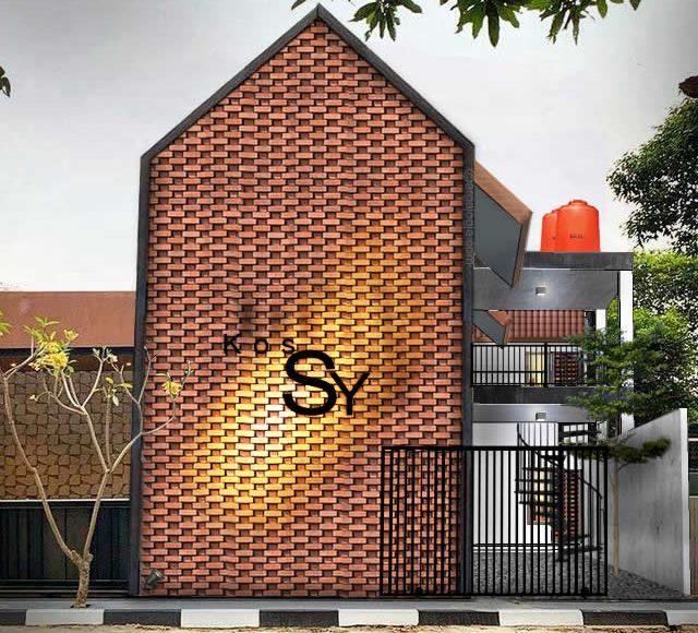 Desain Kos Fasad Bata Tropis Minimalis 2 Lantai