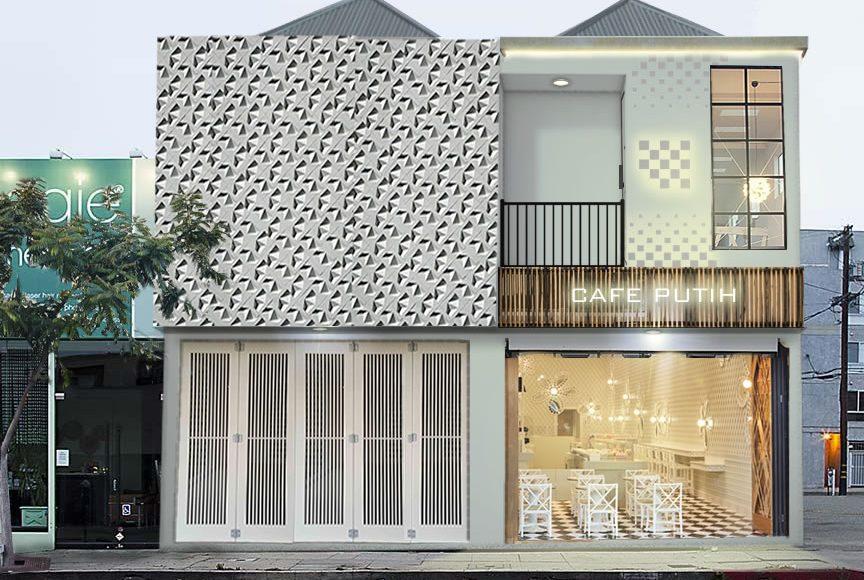 Desain Fasad Ruko Minimalis 2 Lantai dan Cafe Putih