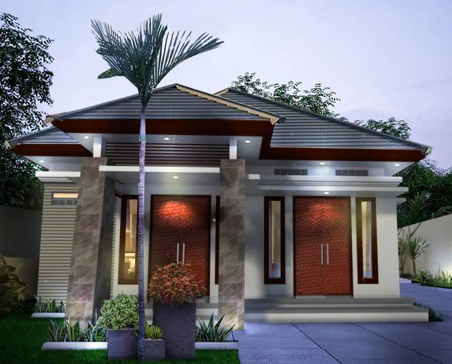Desain Fasad Rumah Tropis Minimalis dengan 2 Pintu Ruang Tamu