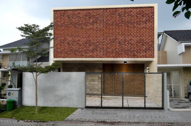 Desain Fasad Bata Rumah 1 Lantai Minimalis