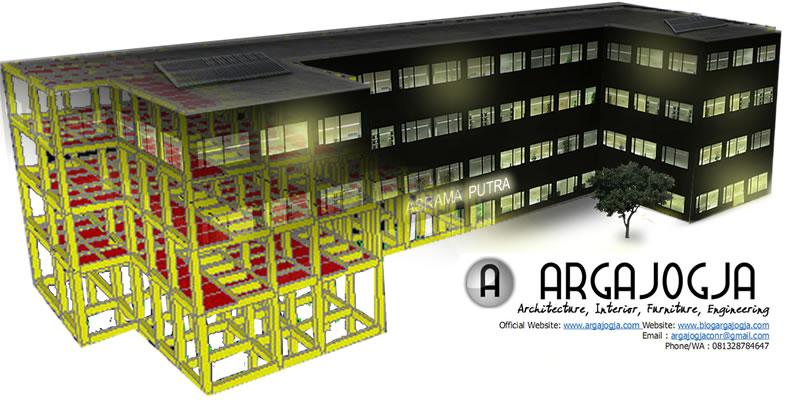 Pemodelan Struktur Gedung Asrama Putra 4 Lantai