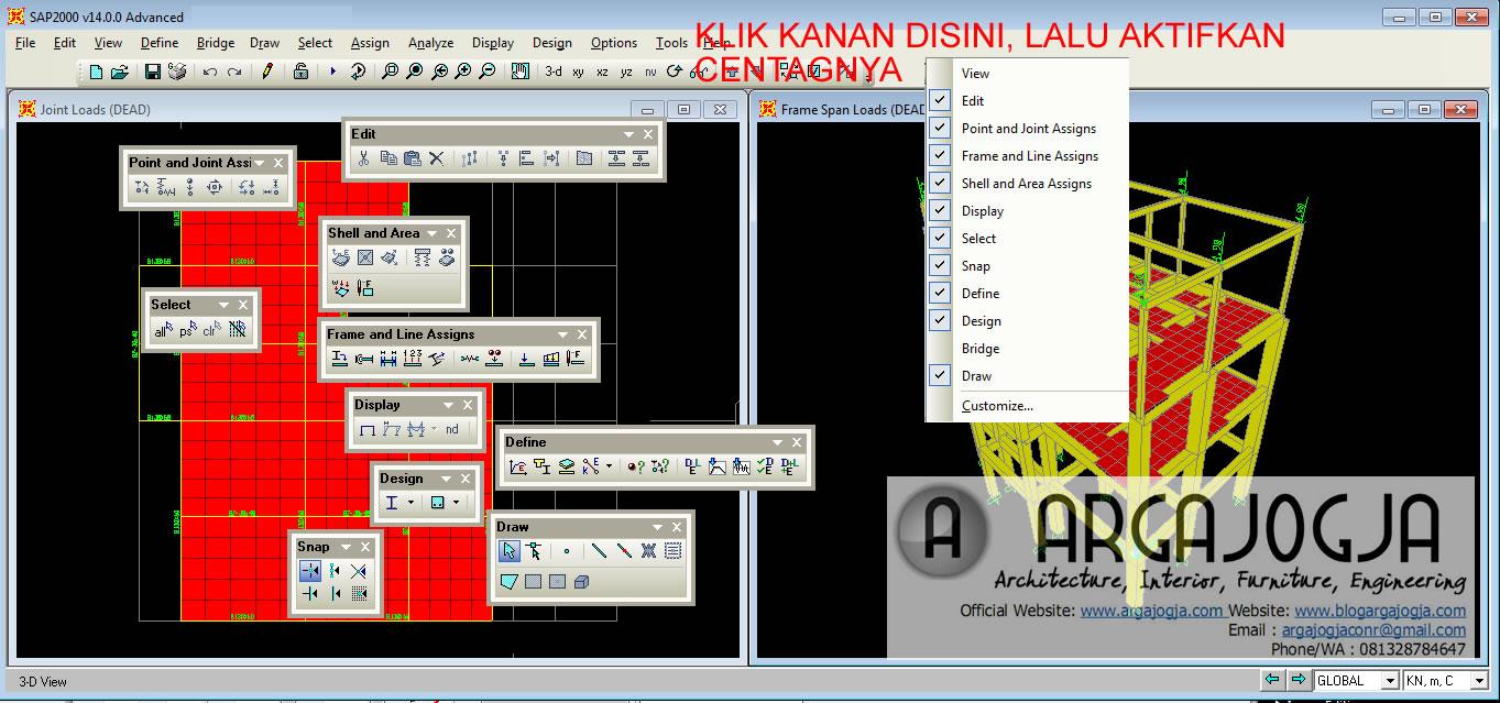 Toolbar SAP2000 yang Sering digunakan