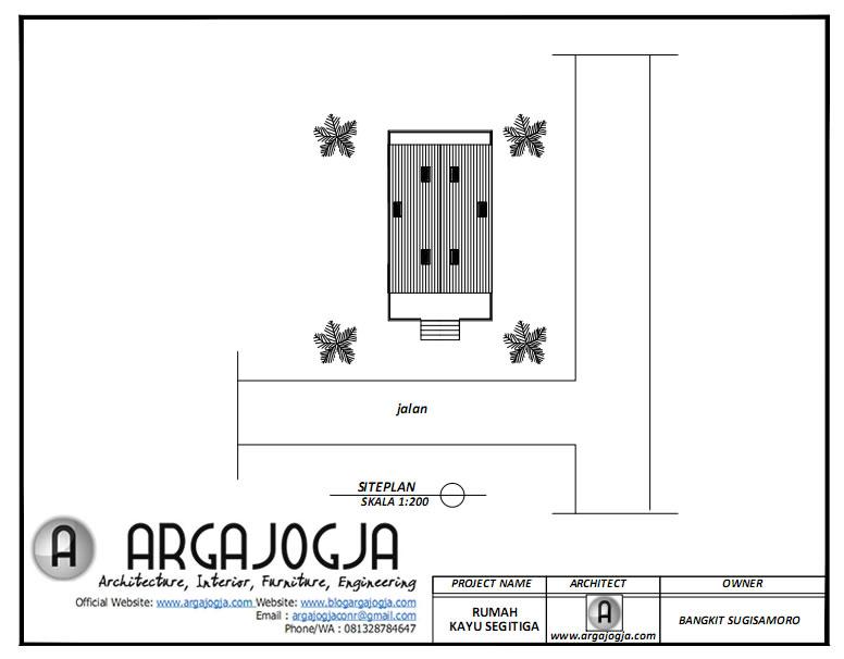 Siteplan Desain Rumah Kayu Segitiga