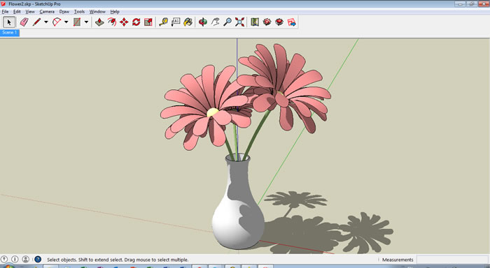 Download Model Sketchup Vase dan Bunga