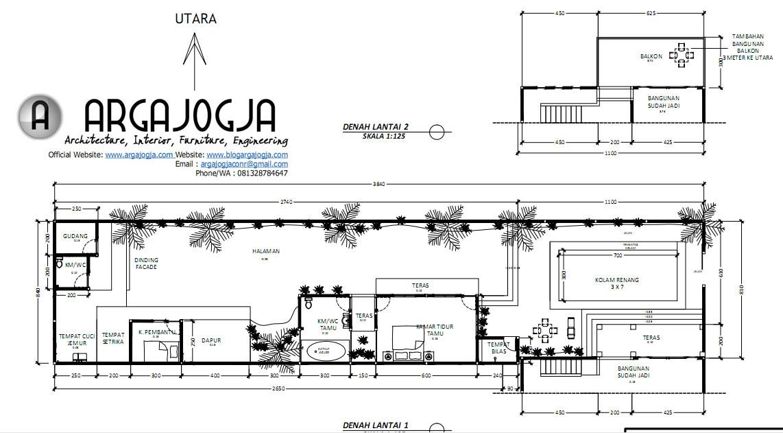 Desain Denah Kolam renang di Halaman Belakang
