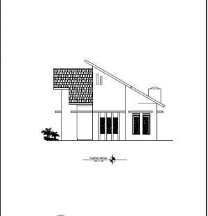 Download Gambar Kerja Desain Rumah dengan Atap Miring-Miring Satu Sisi
