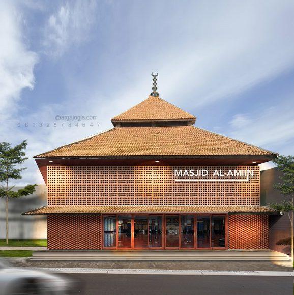 Desain Masjid Fasad Bata Roster Unik Minimalis 2 Lantai