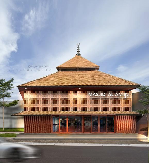 Desain Masjid Fasad Bata Unik Minimalis 2 Lantai