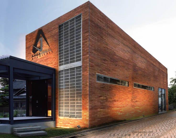 Desain Kantor Kotak Fasad Bata Industrial