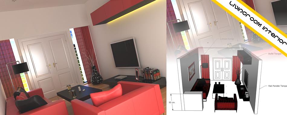 Desain Interior Ruang Tamu Kecil Merah Modern Minimalis