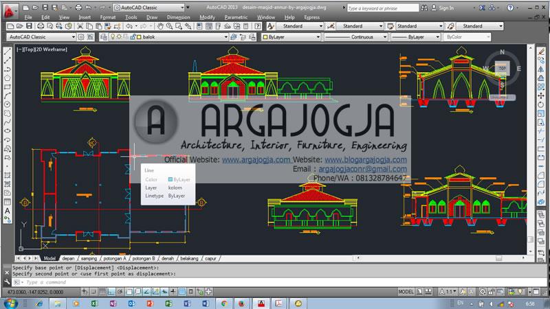 contoh desain masjid dwg