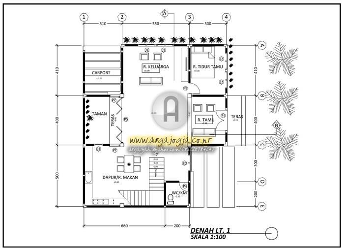 Gambar Kerja Arsitektural dan Utilitas Rumah Minimalis 2 Lantai di