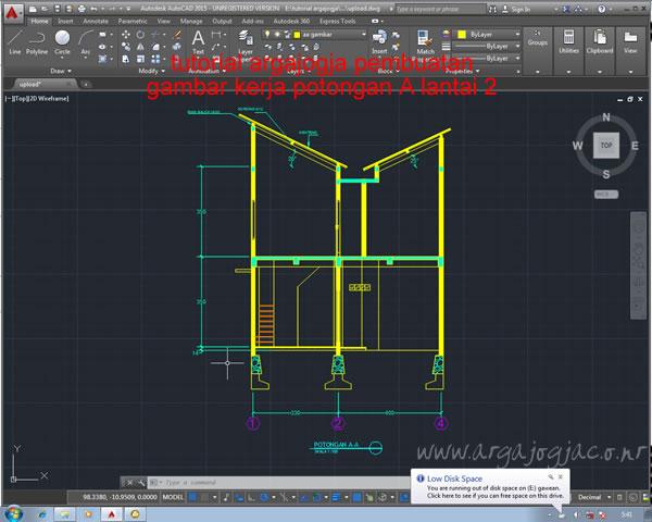 Pembuatan Gambar Potongan A lantai 2