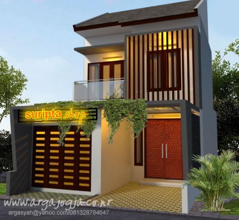 Desain Fasad Rumah 2 Lantai Mungil Dengan Toko Kecil