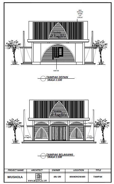 Desain Tampak Mushola Minimalis