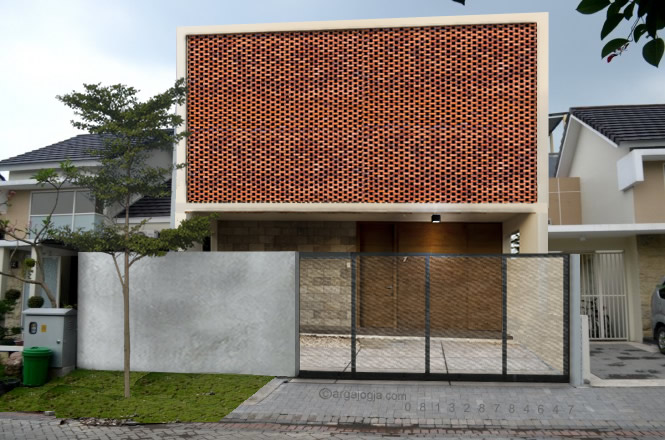 Desain Rumah Fasad Bata 1 Lantai