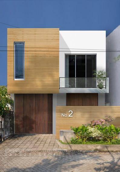 Desain Fasad Kayu Rumah Kecil Modern Minimalis 2 Lantai