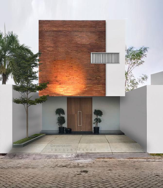 desain fasad lahan kecil 2 lantai